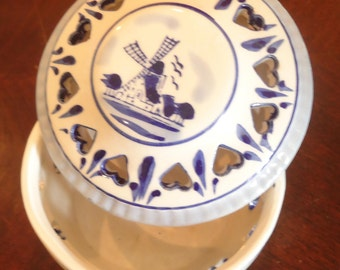 """Blue Porcelain Vintage Candy dish-Delft style w/ heart cutouts. 3""""wide, 2.5""""high, Vintage Candy dish"""