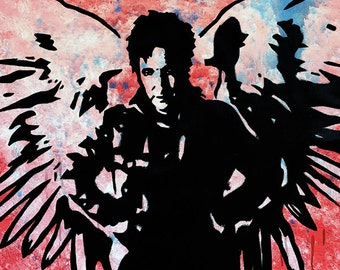 "MR.BABES ""Dogma: The Metatron (Alan Rickman)"" Original Pop Art Painting One Of A Kind Acrylic On Canvas Signed 30"" x 30"""