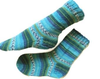 Casual hand knit socks, stripey blue, turquoise, green, men wool socks, woolen socks, striped socks, Christmas socks, Husband gift