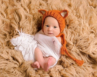 Crochet Fox Bonnet, Animal Photo Prop, Newborn Baby Fox Hat, Animal Bonnet Hat, Fox Newborn Photo Shoot, Halloween Fox Hat, MADE TO ORDER!