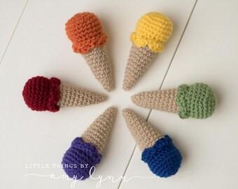 Ice Cream Cones Set of 6 - Custom Crocheted Toy