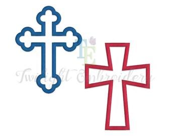 Set of 2 Religious Cross Applique Machine Embroidery Designs, Christian Cross Embroidery Designs  0034