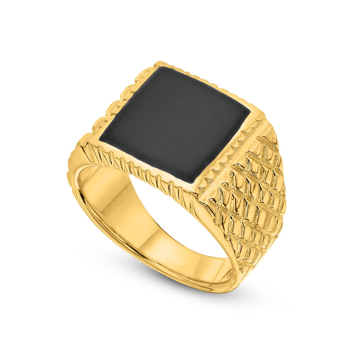 gold onyx ring black onyx ring 14k gold plated ring
