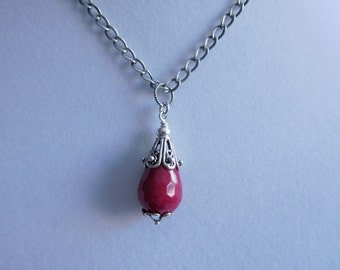 Antique Sterling Silver Ruby Jade Pendant and Chain