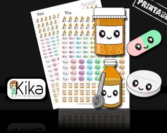 Printable stickers | Medicine planner sticker | Kawaii pills stickers for Erin Condren, Filofax, KiKi K, MAMBI | Instant Download