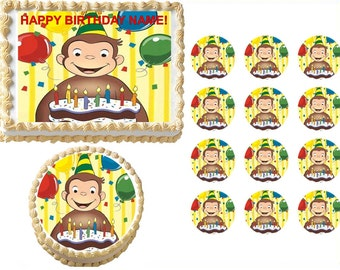 Curious George Edible Cake Topper Image, Curious George Cupcakes, Curious George Party Supplies, Curious George Birthday Edible, Monkey Cake