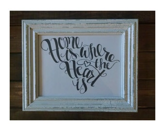 South Carolina Art Print | Home is Where the Heart is Print | Download | Printable | Handlettered Print | State Print | Housewarming Gift