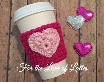 Valentine's Day heart appliqué crochet coffee sleeve, coffee cozy, summer coffee sleeve, crochet heart, pink or red coffee sleeve