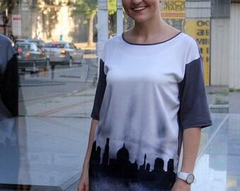 Silk Space Grey mixed with darker grey cotton back longer tunic   #JERUSALEM