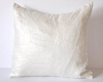 METALLIC LINEN COVER // Metallic Silver and White Pillow, White Pillow, Silver Pillow, Cushion cover
