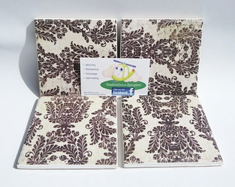 Ceramic coasters, cork backing, decoupaged design