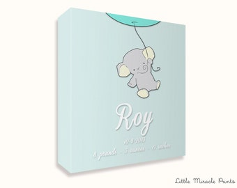 Roy, Elephant, Canvas Print, Nursery Décor, Custom Baby Name, Congratulations, Kids Room Art, Nursery Print, Baby Girl [N5B308C]