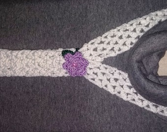 Irish lace crochet mini scarf with flower