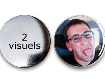 Lot of 2 rounds magnets 56 mm with your drawing, coloring, illustration, message, photo... what you want