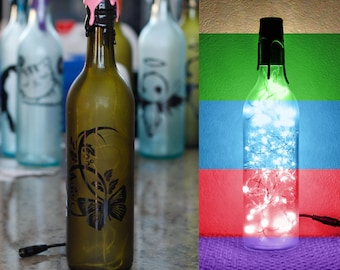 New- Floral - Flower - Wine Bottle Light - Frosted Green - Customizable + Color(s)&Adapter(s)- Gift For Her.