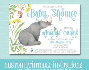 Custom BABY SHOWER Invitation, Rhino Baby Shower Invitation, PRINTABLE, Baby Shower, Invitation, Boy, Digital File, Rhinoceros, Watercolor