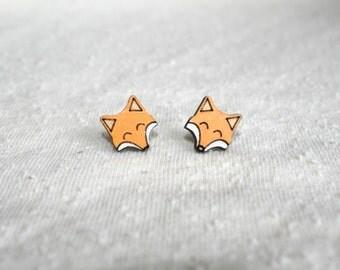 Small earrings fox fox child - modern minimalist painted wooden adult