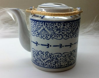 ASIAN STYLE TEAPOT Blue and White with Rattan Wrapped Handles Vintage Circa 1980's