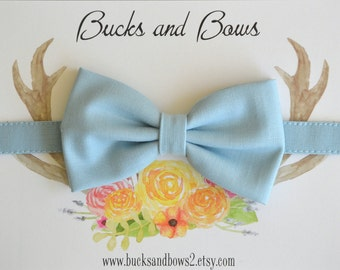 Light Blue Solid Baby Bow Tie ~ Boys Bow Tie ~ Adjustable Strap ~ Toddler Bow Tie - Blue Baby Boy Bow Tie