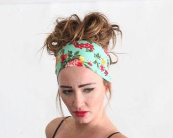 Floral headband, woman headband, wide headband.