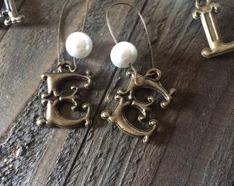 Bronze Intial Earring
