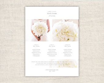 Wedding Photography Pricing Template Design - Photo Marketing Template for Photographers - Photoshop Design Templates, INSTANT DOWNLOAD