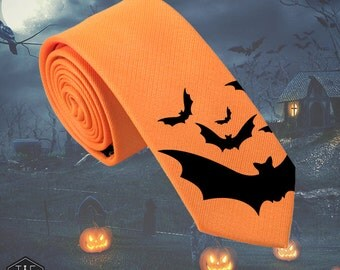 Halloween Bats Silk Tie - Slim Tie - Halloween Fancy Tie, Wedding Tie, Christmas Gift, Fathers Day Gift, Birthday Gift- FREE UK Shipping!