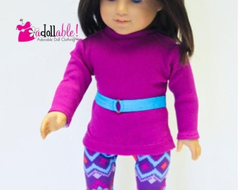 American made Girl Doll Clothes, 18 inch Girl Doll Clothing, Fuchsia Top, Aztec Inspired Legging made to fit like American girl doll clothes