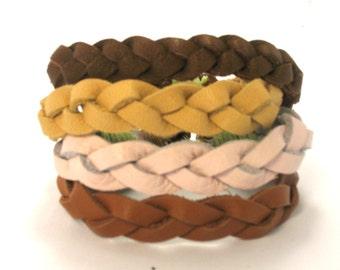 Bracelet  braided leather braid Leather bracelet woman Leather band Braided Bangle Cuff bracelet  Friendship bracelet  Weaving leather Boho