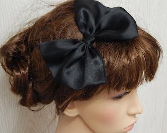 Black satin hair bow on hair elastic, party head wear, summer head accessories, women's head bows, silky glossy hair bow