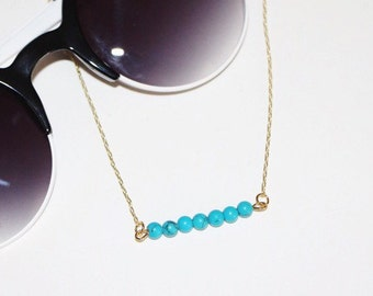 Turquoise Bar Necklace / Beaded Turquoise Necklace / Layering Necklace