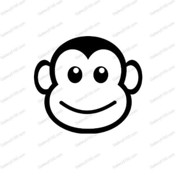 cute cartoon monkey face baby decal sticker cowgirl hat