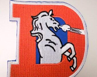 "Denver Broncos Throwback D Logo Iron On Patch 3 1/2"" x 3 1/4"" Football Logo Sewn On or Iron On Free Shipping"