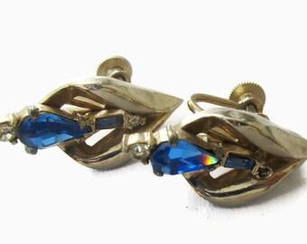 CORO Earrings Sapphire Blue Silver Tone Screw Back Modernist f96