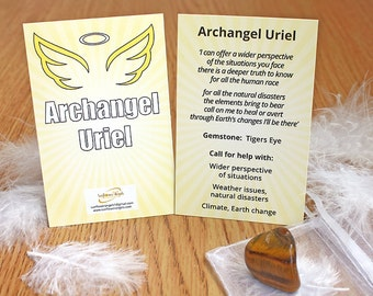 Archangel Uriel guidance card with Tigers Eye, angel, Archangel Uriel, guidance, crystal, tigers eye, archangel guide, archangel