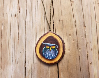 Wood Slice - Owl Jewelry - Hand Painted Pendant - Wood Slice Necklace - Wood Painting - Bohemian Jewelry - Statement Necklace - Gift for her