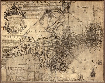 Boston, Massachusetts (MA.), 1769.   Restoration Hardware Home Deco Style Old Wall Map. Vintage Reproduction.