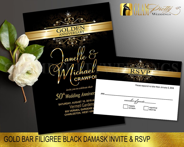 Golden Wedding Anniversary Invitations: Black And Gold Foil 50th Wedding Anniversary Invitation & RSVP