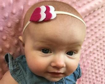 Felt Headband, Valentine's Day Baby Headband, Nylon Baby Headband,  Heart Headbands, Nylon One Size, Baby, Toddler