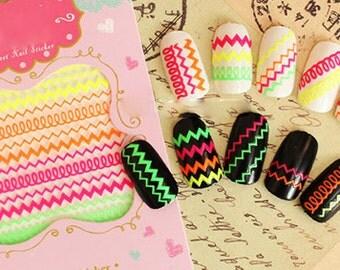 Nail Sticker neon Nail Decals Nail Art , Nail deco , nail accessory,nail decoration ,