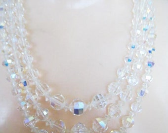 Vintage Three Strands Crystal Aurora Glass Necklace