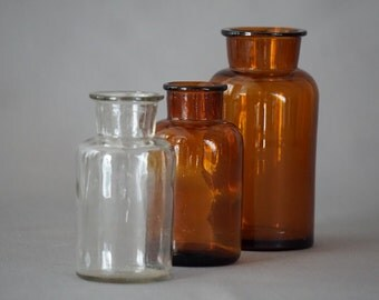 3 vintage apothecary bottles, 1950s