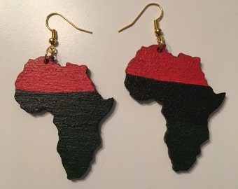 Red, black and Green africa cut out wood drop earrings