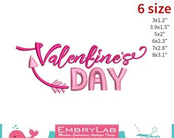 Machine Embroidery Applique Design Valentin Lettering Valentines Day (16095)