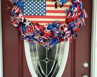 Patriotic Red White Blue American Door Wreath