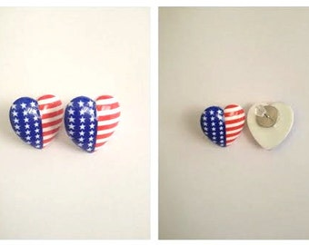 Heart shaped American Flag studs