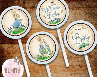 INSTANT DOWNLOAD Peter Rabbit Baby Shower Cupcake Toppers, Favor Labels