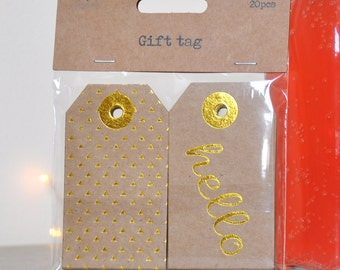 Hello Gold Embossed Gift Tags - pack 20