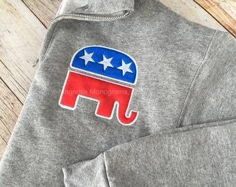 Gop Sweatshirt, GOP Pullover, Republican Elephant, Republican Sweatshirt, GOP Elephant, Republican GOP