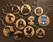 Custom Wood burned Pendant Necklace or Keychain- Personalized Jewelry Fandom Geeky Unisex Accessories featured image